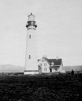 Point Arena Light - The original tower, damaged by an earthquake in 1906