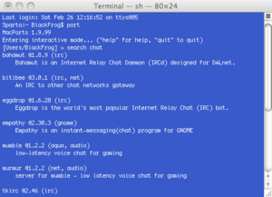 Screenshot of the port command running in Terminal