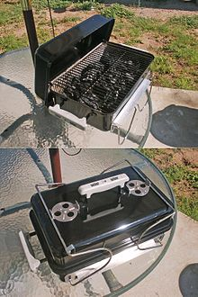 Portable Charcoal Grills Are Small But Convenient For Traveling,  Picnicking, And Camping. This One Is Loaded With Lump Charcoal.