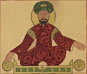 Saladin - A possible portrait of Saladin, found in a work by Ismail al-Jazari, circa 1185