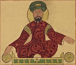 Saladin - A possible portrait of Saladin, found in a work by Ismail al-Jazari, circa 1185