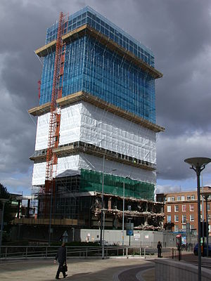 Post and Mail building, Birmingham - Partial demolition in progress, September 2005.