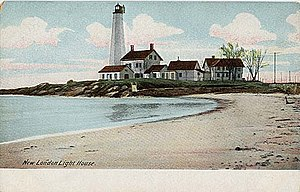 New London Harbor Light - Image: Postcard New London Harbor Light 1901to 1907
