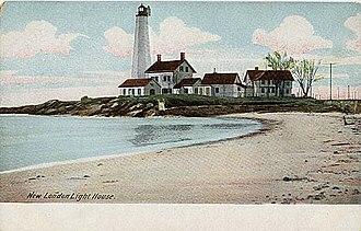 New London Harbor Light - Image: Postcard New London Harbor Light 1901to 1907