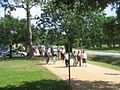 Precrowd on their way through Memorial Park to protest.jpg