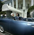 President John F. Kennedy and President Dr. Sarvepalli Radhakrishnan of India in Car Before Motorcade (3).jpg