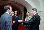 President Ronald Reagan During An Interview with Sam Donaldson of ABC News Lesley Stahl of CBS News and Judith Woodruff of NBC News with James Brady at The Cross Hall White House Library NARA 75856529.jpg