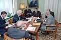 President Ronald Reagan with Mikhail Gorbachev, Jack Matlock, Dimitry Zarechnak, George Shultz, and Eduard Shevardnadze during his trip to Iceland at the Reykjavik Summit.jpg