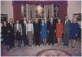 President and Mrs. Bush pose with the former presidents and first ladies in the replica of the Oval Office at the... - NARA - 186441.tif