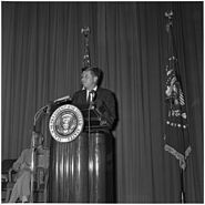 President announces appointment of new Director of Central Intelligence Agency. President Kennedy at podium... - NARA - 194192