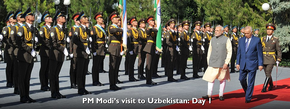 Prime Minister Narendra Modi receieves a guard of honour in Uzbekistan
