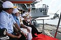 Prime Minister Narendra Modi witnessing various exercises during the Operational Demonstration by Naval ships, submarines and aircraft at the Combined Commanders' Conference 2015.JPG