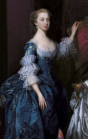 Princess Augusta of Great Britain - Augusta aged 14 in a family portrait of 1751 by George Knapton.