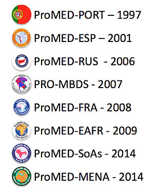 ProMED-mail - Language regions of ProMED-mail and year they were added to the database.
