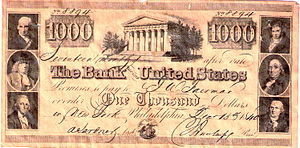 Promissory note - A promissory note issued by the Second Bank of the United States, December 15, 1840, for the amount of $1,000