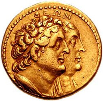 Berenice I of Egypt - Portraits of Berenice I and Ptolemy I Soter on a golden octodrachm minted in Alexandria in c. 265 BC