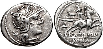 Marcia (gens) - Denarius of Quintus Marcius Philippus, 129 BC. The obverse depicts a head of Roma; on the is a horseman, behind whom is a Macedonian royal helmet.