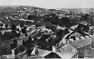 Merthyr Tydfil County Borough -  Historical photograph of Quakers Yard, in the south of the county borough
