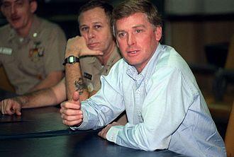 Dan Quayle - Quayle aboard the aircraft carrier USS John F. Kennedy (CV-67) during Operation Desert Shield