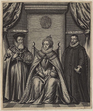 William Cecil, 1st Baron Burghley - Engraving of Queen Elizabeth I, William Cecil and Sir Francis Walsingham, by William Faithorne, 1655