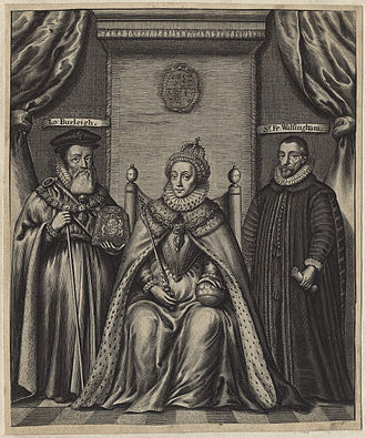 Seventeenth-century engraving of Queen Elizabeth with William Cecil (left) and Francis Walsingham (right) Queen Elizabeth I; Sir Francis Walsingham; William Cecil, 1st Baron Burghley by William Faithorne (2).jpg