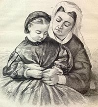 Queen Victoria, holding Princess Beatrice in 1862