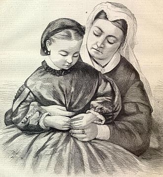Princess Beatrice of the United Kingdom - Queen Victoria, holding Princess Beatrice in 1862