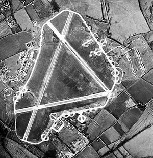 RAF Down Ampney - Aerial photograph of Down Ampney airfield. The bomb dump is to the right (east) of the airfield, the technical site and barrack sites are to the left, 4 December 1943