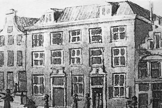 Mozes en Aäronkerk - Entrance of the Mozes en Aäronkerk from 1649 to 1690 before it was moved to the Houtgracht.