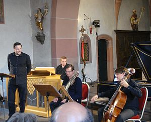 Andreas Scholl - Andreas Scholl and members of the Baroque orchestra Accademia Bizantina in a concert of the Rheingau Musik Festival at the church of Hallgarten, 16 July 2011
