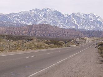 Mendoza Province - The snowy Andes viewed from the National Route 7.