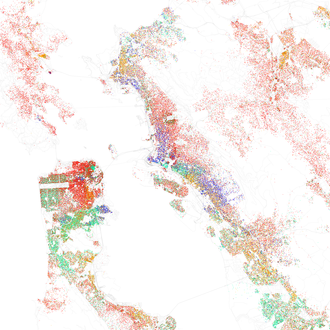 Map of racial distribution in San Francisco Bay Area, 2010 U.S. Census. Each dot is 25 people: White, Black, Asian, Hispanic, or Other (yellow) Race and ethnicity 2010- San Francisco, Oakland, Berkeley (5560477152).png