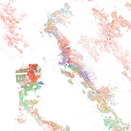 Map of racial distribution in San Francisco Bay Area, 2010 U.S. Census. Each dot is 25 people: White, Black, Asian Hispanic, or Other (yellow) Race and ethnicity 2010- San Francisco, Oakland, Berkeley (5560477152).png