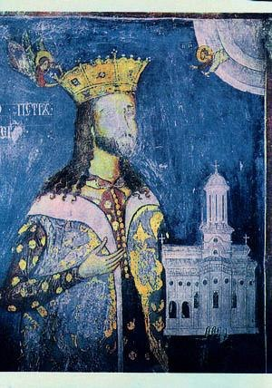 Radu Paisie - Radu Paisie as ktitor. David and Radoslav's fresco in the infirmary of Cozia Monastery