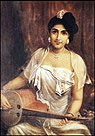 Raja Ravi Varma, Lady Playing the Swarabat.jpg