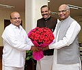 Ram Nath Kovind meeting the Union Minister for Social Justice and Empowerment, Shri Thaawar Chand Gehlot, in New Delhi. The Minister of State for Social Justice & Empowerment, Shri Vijay Sampla is also seen.jpg
