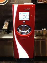 Red Coca-Cola Freestyle soda machine at a Burger King.jpg