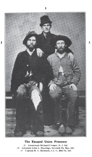 Pennsylvania Reserves - March 17, 1865 photo of three Union soldiers who escaped Confederate Prison Camp including Lieutenant Richard Cooper New Jersey Infantry, Adjudant John J. Hastings 7th Pennsylvania Reserve Infantry, and Captain Rees G. Richards Company G 45th Pennsylvania Volunteer Infantry.