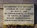 Refurbishment plaque, Great Crosby and Blundellsands War Memorial.jpg