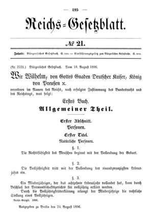 Bürgerliches Gesetzbuch - Publication in the Reich Law Gazette on August 24, 1896