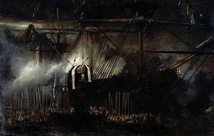 The frigate Belle-Poule brings back the remains of Napoleon to France. Repatriacion de las cenizas de Napoleon a bordo de la Belle Poule, por Eugene Isabey.jpg