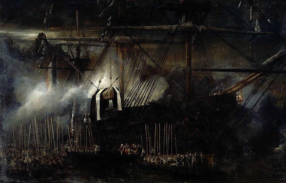 Repatriación de las cenizas de Napoleón a bordo de la Belle Poule, por Eugène Isabey