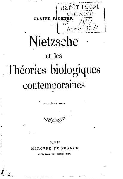 File:Richter - Nietzsche et les théories biologiques contemporaines.djvu