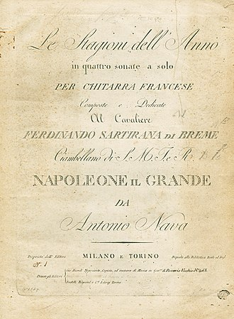 Casa Ricordi - Cover of Ricordi's first publication in 1808