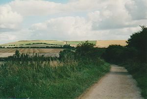 Ridgeway (road) - The Ridgeway (Uffington Castle ringfort in distance on left)
