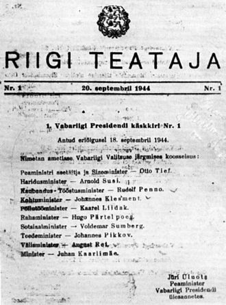 Battle of Narva (1944) - The 18 September 1944 proclamation of the Government of Estonia in Riigi Teataja (Government gazette)