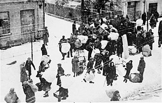 Nazi ghettos - Jews being forced into the new Grodno Ghetto in Bezirk Bialystok, November 1941
