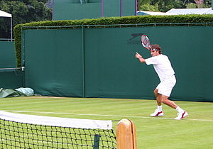 Roger Federer at Wimbledon, 2005 Photo by Alex...