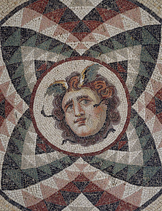 Princeton University Art Museum - Roman, Antioch, mosaic pavement, head of Medusa, late 2nd century A.D.