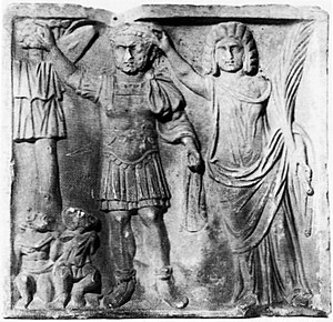 Caracalla - Relief (c. 212–15) with Caracalla (left) and Julia Domna as Victoria.